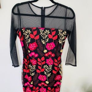New York & Company Black Floral Embroidered Dress